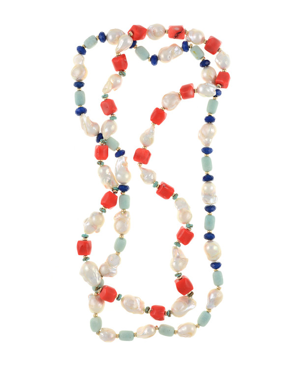 """2 necklaces, Half Moon Bay in coral and Grace Bay in amazonite, Single strand white 11-13mm biawa pearls,rectangular dyed coral beads with turquoise and gold accents beads, on individually hand-knotted natural silk, 28"""" in length"""