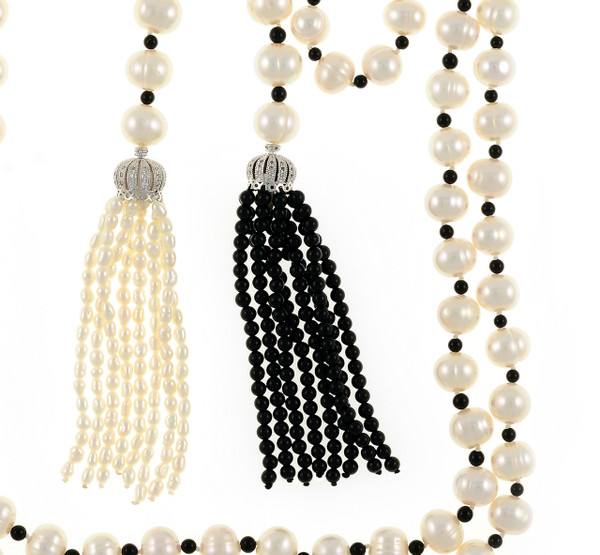 """zoom on Salome Pearl Necklace tassels,  9-10mm white round freshwater pearls separated with onyx, individually hand-knotted on silk, with 1 black onyx tassel and 1 white seed freshwater pearl tassel, Can be worn wrapped, draped, tied, or looped, 50"""" in length (rope length)."""