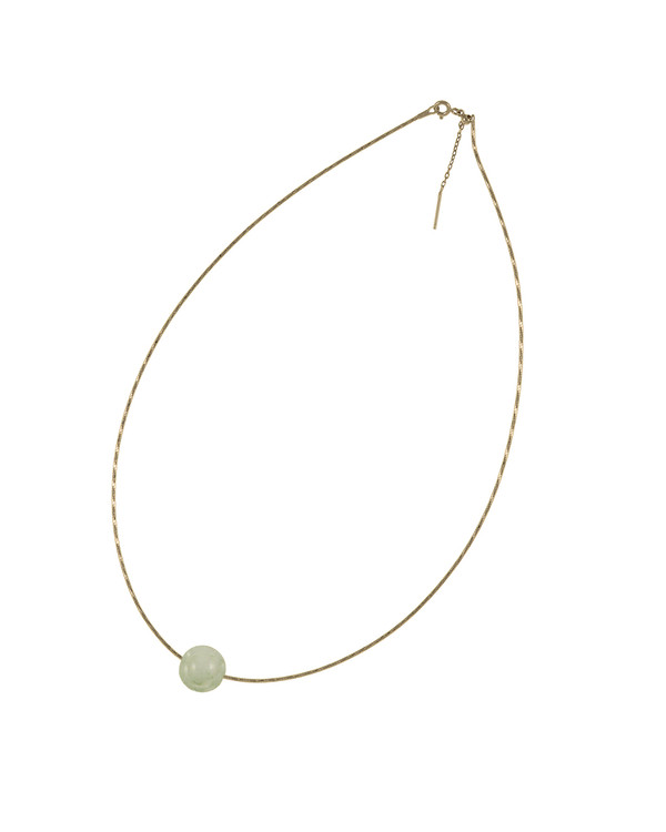 "South Beach Pearl Necklace, featuring a jade bauble, 12-14mm on Sterling silver finely woven chain, spring ring clasp with threader, 21"" in length."