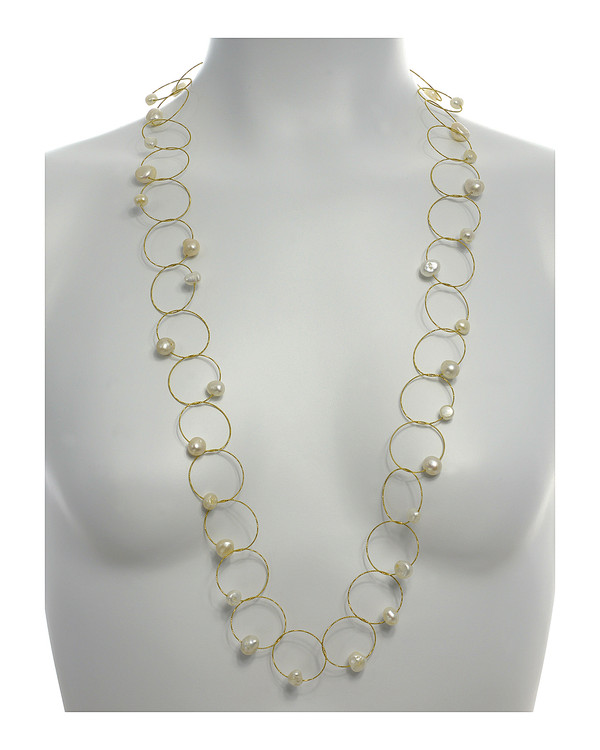 "Truilli - Pearl Necklace,    36 white freshwater pearls, 7.0-11.0 mm, on individual intertwining shiny textured brass rings,  Pearl necklace is 45"" long lariat style , shown on model"