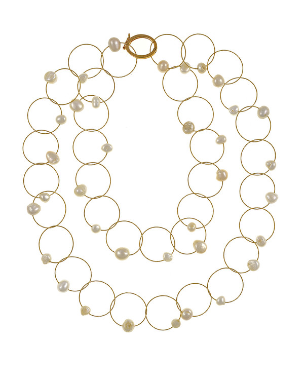 "Truilli - Pearl Necklace,    36 white freshwater pearls, 7.0-11.0 mm, on individual intertwining shiny textured brass rings,  Pearl necklace can be converted from a 45"" long lariat style necklace to a choker style necklace with the included gold-toned converter, shown with converted in use"