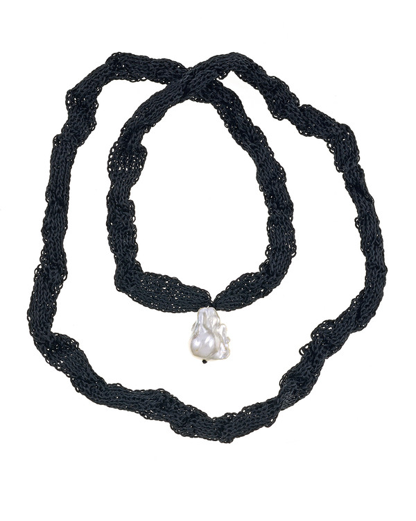 "Thorncrown* - Biawa Pearl & Silk Necklace, shown in black, Suspended extra-large natural white freshwater biawa pearl pendant, 15-18 mm hanging from Hand-crocheted silk necklace that slips over the head, 15-20"" in length (princess to matinee length)"