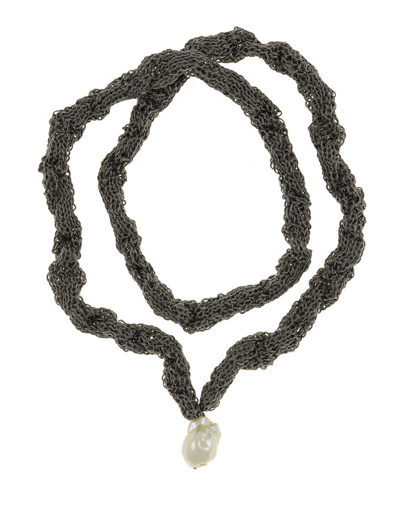 "Thorncrown* - Biawa Pearl & Silk Necklace, shown in gray, Suspended extra-large natural white freshwater biawa pearl pendant, 15-18 mm hanging from Hand-crocheted silk necklace that slips over the head, 15-20"" in length (princess to matinee length)"