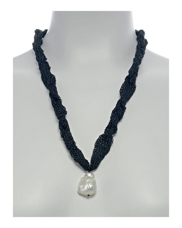 "Thorncrown* - Biawa Pearl & Silk Necklace, shown in black on model, Suspended extra-large natural white freshwater biawa pearl pendant, 15-18 mm hanging from Hand-crocheted silk necklace that slips over the head, 15-20"" in length (princess to matinee length)"