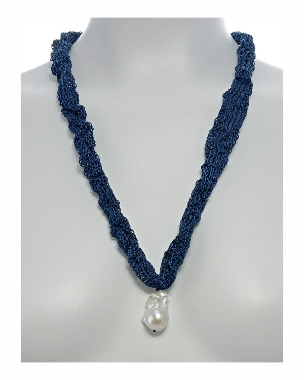 "Thorncrown* - Biawa Pearl & Silk Necklace, shown in denim on model, Suspended extra-large natural white freshwater biawa pearl pendant, 15-18 mm hanging from Hand-crocheted silk necklace that slips over the head, 15-20"" in length (princess to matinee length)"