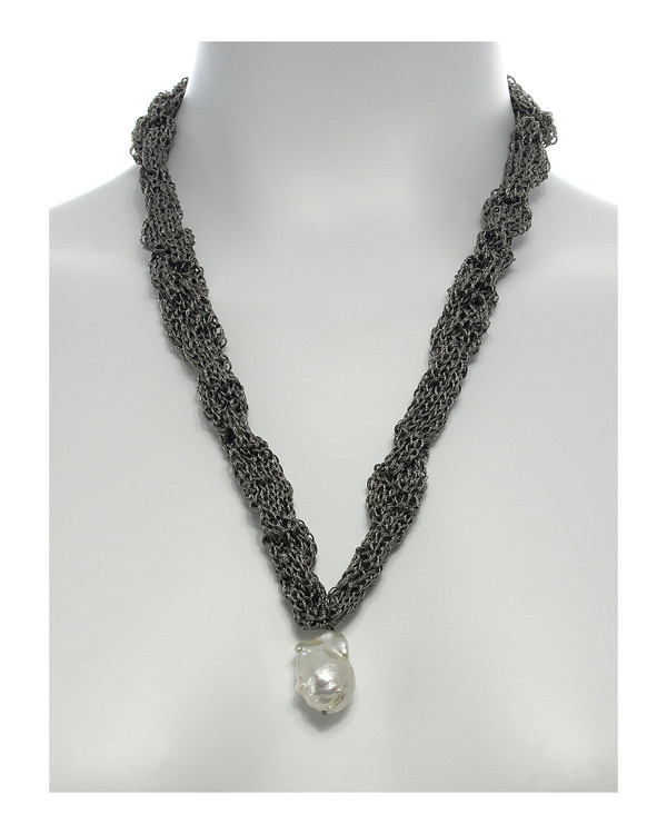 "Thorncrown* - Biawa Pearl & Silk Necklace, shown in gray on model, Suspended extra-large natural white freshwater biawa pearl pendant, 15-18 mm hanging from Hand-crocheted silk necklace that slips over the head, 15-20"" in length (princess to matinee length)"