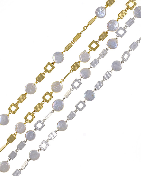 "Polignano a mare - Pearl Necklace,  Shown in both gold-tone and silver-tone,  Wear both together for a sparkling stand-out look, Pearl necklace composed of white freshwater coin pearls, 14mm, interspersed with mixed metal geometric window-shaped gold-toned or silver-toned links, Lobster claw clasp, 30"" in length (rope or lariat length), Can be worn wrapped into a choker style (16"")"