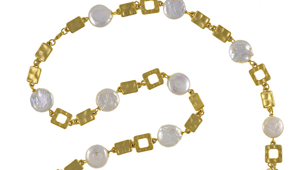 "zoom on Polignano a mare - Pearl Necklace to enhance detail,  Shown gold-tone,  Pearl necklace composed of white freshwater coin pearls, 14mm, interspersed with mixed metal geometric window-shaped gold-toned links, Lobster claw clasp, 30"" in length (rope or lariat length), Can be worn wrapped into a choker style (16"")"