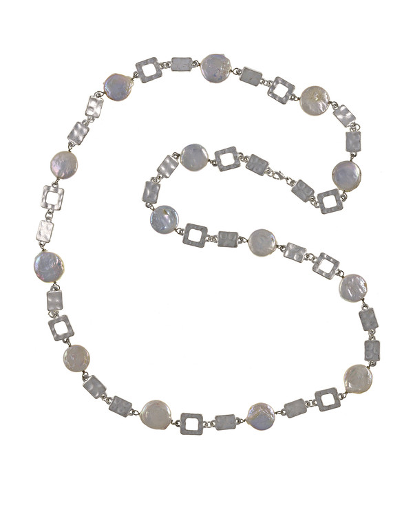 """Polignano a mare - Pearl Necklace,  Shown silver-tone,  Pearl necklace composed of white freshwater coin pearls, 14mm, interspersed with mixed metal geometric window-shaped silver-toned links, Lobster claw clasp, 30"""" in length (rope or lariat length), Can be worn wrapped into a choker style (16"""")"""