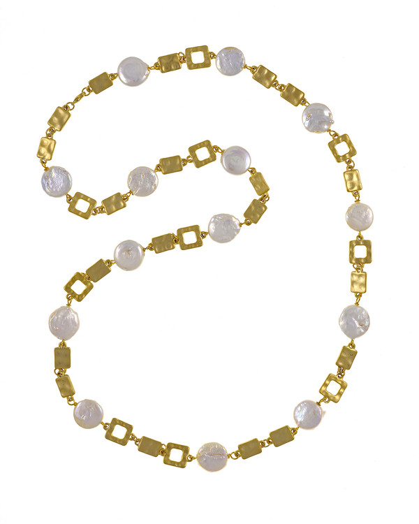 "Polignano a mare - Pearl Necklace,  Shown gold-tone,  Pearl necklace composed of white freshwater coin pearls, 14mm, interspersed with mixed metal geometric window-shaped gold-toned links, Lobster claw clasp, 30"" in length (rope or lariat length), Can be worn wrapped into a choker style (16"")"