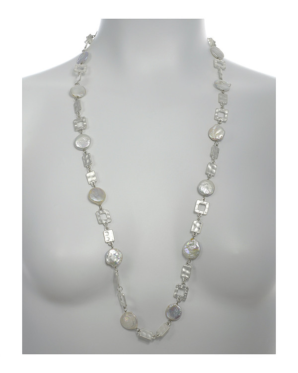 "Polignano a mare - Pearl Necklace,  Shown silver-tone on model,  Pearl necklace composed of white freshwater coin pearls, 14mm, interspersed with mixed metal geometric window-shaped silver-toned links, Lobster claw clasp, 30"" in length (rope or lariat length), Can be worn wrapped into a choker style (16"")"