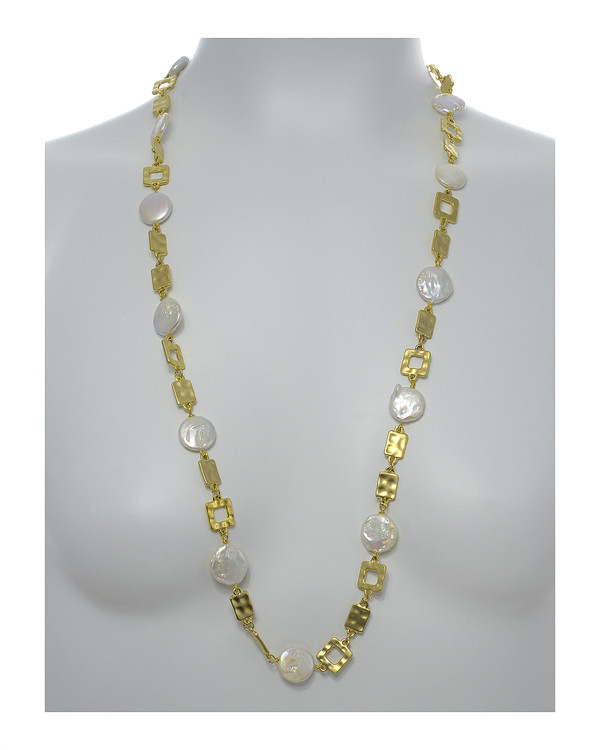 "Polignano a mare - Pearl Necklace,  Shown gold-tone on model,  Pearl necklace composed of white freshwater coin pearls, 14mm, interspersed with mixed metal geometric window-shaped gold-toned links, Lobster claw clasp, 30"" in length (rope or lariat length), Can be worn wrapped into a choker style (16"")"