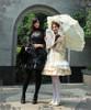 Model Show (hair dress: P00607, corset: Y00025N, fan: P00580, ivory pannier bloomers: UN00024, black skirt: SP00138, black leggings: P00182, white leggings: P00187)