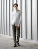 Vintage Stand Collar Shirt Men Shirt Handmade Shoulder Chain Set White Black