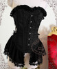 Lolita Victorian Corset Pelplum Top Corset Top Corsage Brooch Black