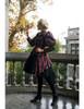 Model Show (dark blue & red plaid brushed cotton + black crepe cotton ver.) Jacket & Puff Sleeves Shrug 2pcs Set CT00276