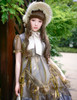 Vintage Lolita Cute Casual Midi Dress Stained Glass Windows Jacquard Summer Dress