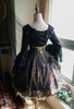 Vintage Lolita Fashion Long Sleeves Top Black White Hime Cuffs Blouse