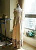 Back View of Empire Waist Dress under natural sunlight (Champagne + Light Ivory Version)