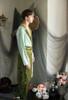 Vintage Fashion Men Pajamas Color Block Silk Gown Velvet Trousers Casual Outfit