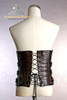 Elegant Gothic Aristocrat Over Bust Steel Boned PU Leather Brown Corset