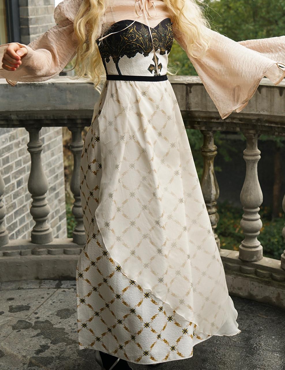 Corset Maxi Ball Dress, Empire Waist Regency Dress ivory/black ...
