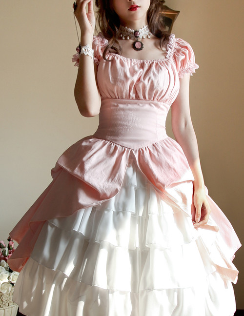 New Romantic Rococo Lolita Victorian Palatial Retro Collar & Sleeves Two-Way Plump Bustle Dress