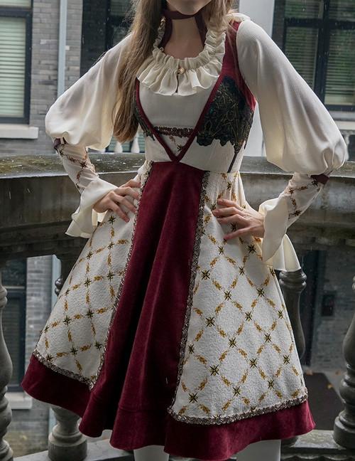 Model Show (Off-White + Burgundy Ver.) (blouse: TP00161, petticoat: UN00026, UN00027)