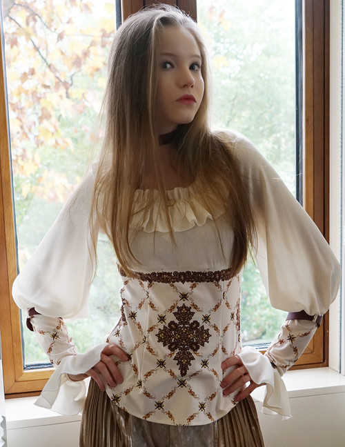 Medieval Borgia, Gothic Elegant Retro Patterned Long Sleeves Blouse & Choker Set*2colors Instant Shipping