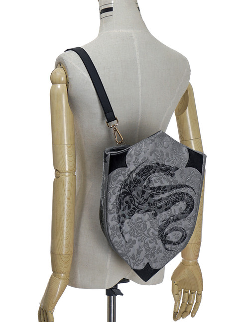 Medieval Borgia, Gothic Retro Middle Ages Style Shield Shape Dragon Print Handmade Backpack/Clutch Bag