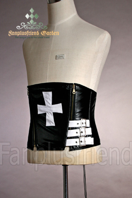 Elegant Gothic Under Bust Steel Boned PU Leather Cross Corset