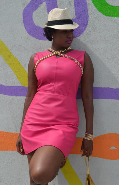 Pink Sheep Pink Battlefield Geniune Leather Dress