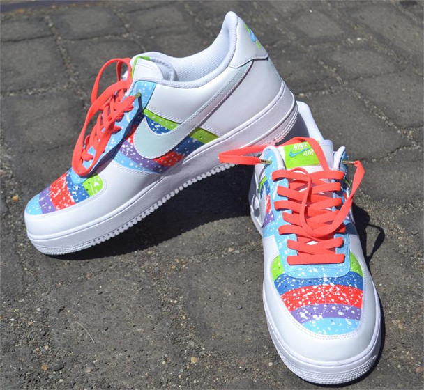 Color Block with Spray Custom Air Force One Sneakers