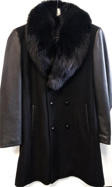 Black Wool and Leather Trench Coat
