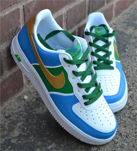 Blue Green Gold Swoosh Custom Painted AF1 Sneakers