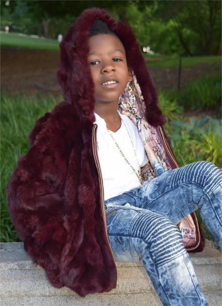 Burgundy Rabbit Fur Kids Jacket