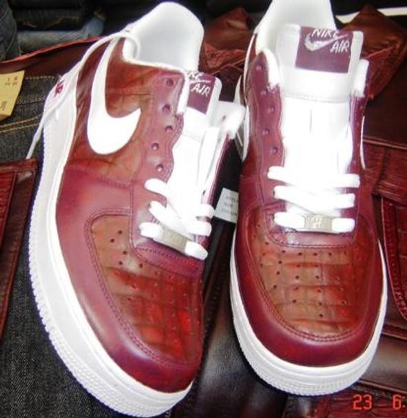 Burgundy Croc Custom Air Force Ones Sneakers