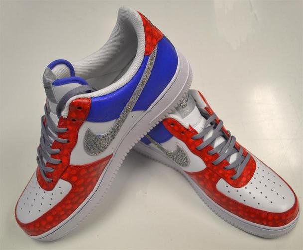Red Croc Icey Swoosh Custom Air Force Ones Sneakers