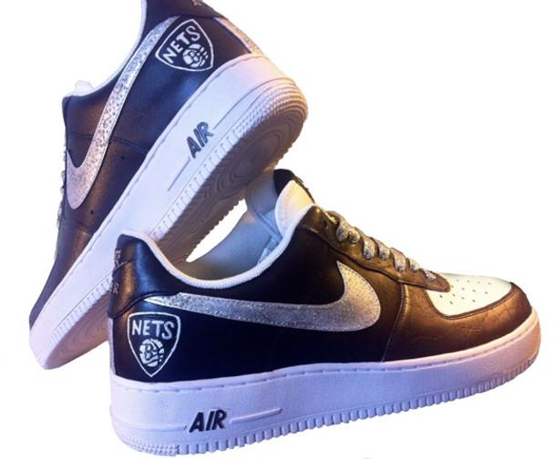 Custom AirForce Ones Brooklyn Nets Sneakers