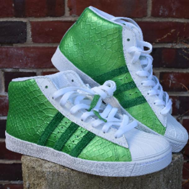 Green Lantern Custom Metallic Hi Top Adidas