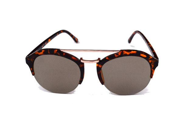 Brown Marble Round Sunglasses