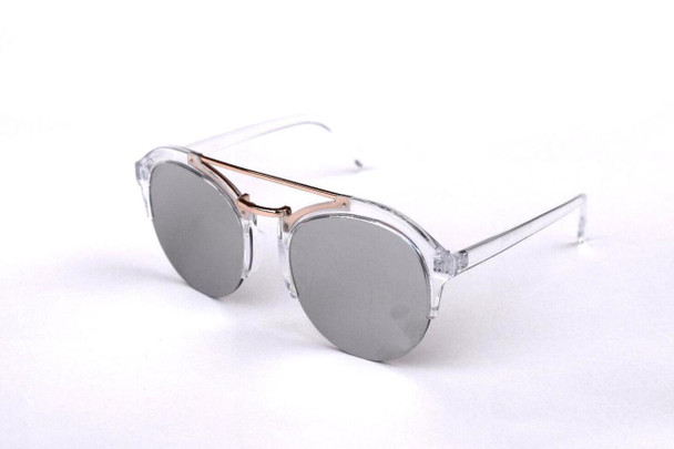 Silver Round Mirror Sunglasses