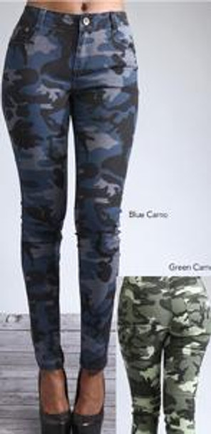 Ladies Blue Camo Jeans