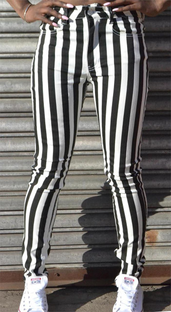 Ladies Black and White Striped Jeans