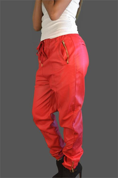 Faux Leather Red Butter Soft Sweatpants