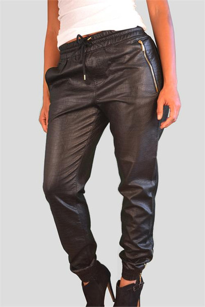Snake Look Faux Leather Sweatpants