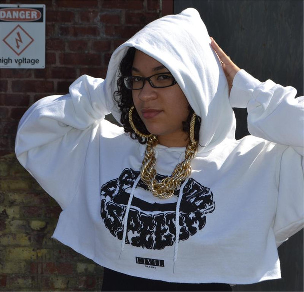 Civil Clothing Freedom of Speech White Crop Hoodie
