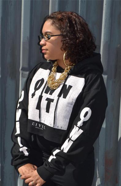 Civil Clothing Own It Black Crop Hoodie