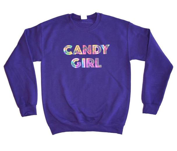 Candy Girl Purple Hologram Sweatshirt