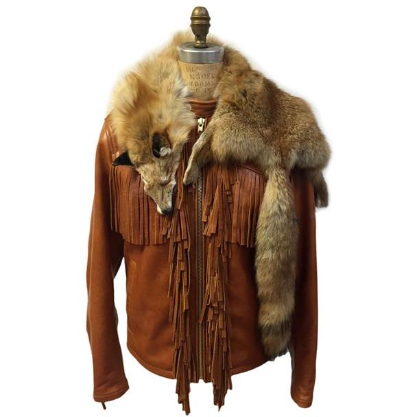 Jakewood G Gator Leather jacket with fringes and fur